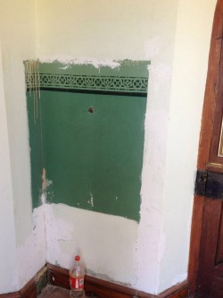 An Original Stencilled Paint Section in the Porch Uncovered