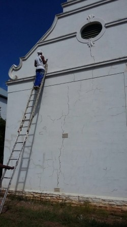 Exterior Cracks Being Attended to